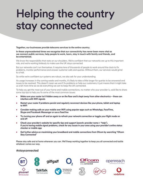 UK telecoms industry joins together to help the country stay connected featured image