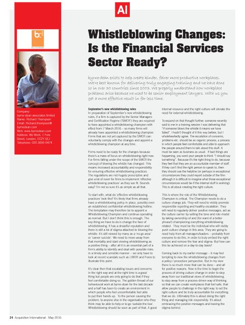 Whistleblowing Changes: Is the Financial Services Sector Ready? featured image