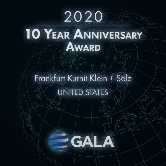 Frankfurt Kurnit Recognized for a Decade of GALA Membership featured image