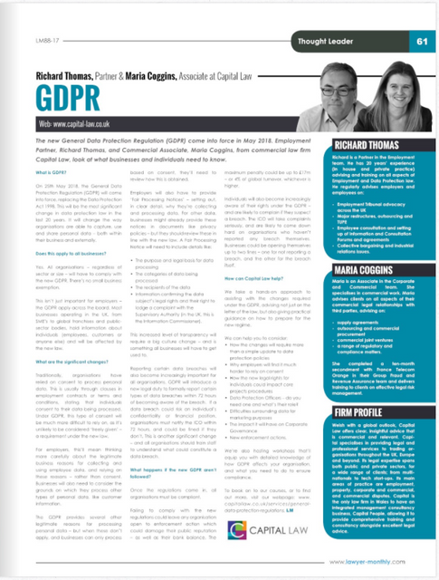 GDPR: the need to know - Lawyer Monthly featured image