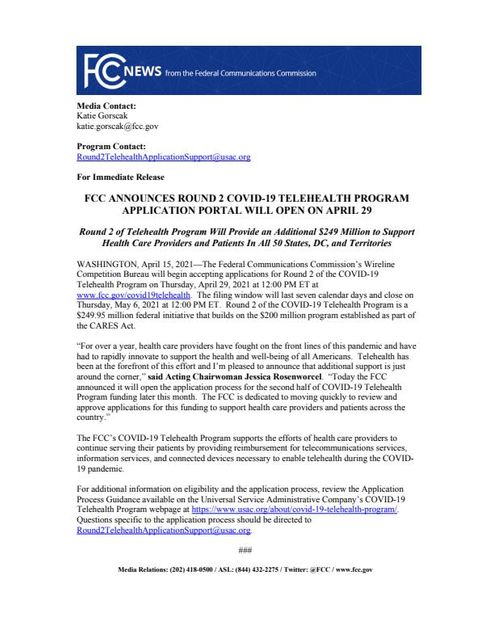 FCC announces round 2 of COVID-19 telehealth funding featured image
