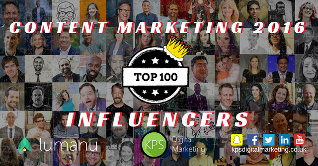 Top 100 Content Marketing Influencers 2016 featured image