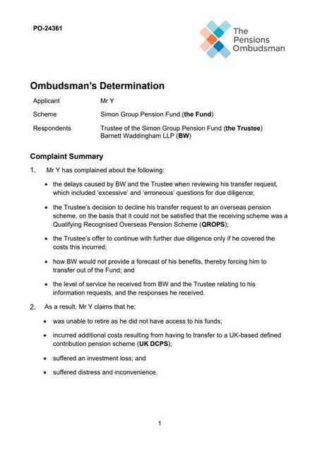 Ombudsman determination highlights tension between statutory transfer rights and tax risks featured image
