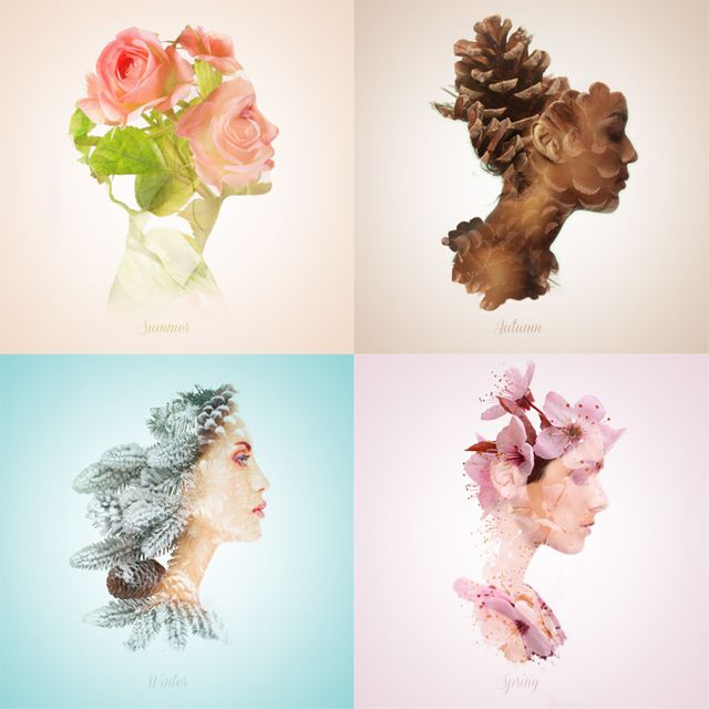 Double exposures in portraits representing seasons featured image