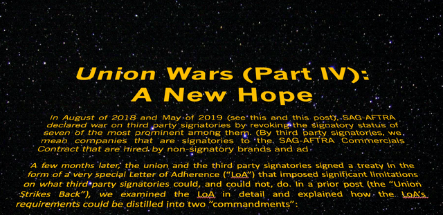 Union Wars (Part IV):  A New Hope featured image