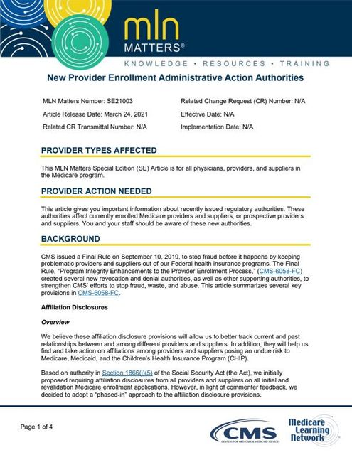 CMS delays for 12 months updates to Form 855 applications to include affiliation disclosures featured image