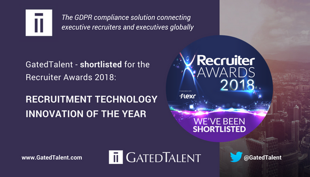GatedTalent Shortlisted for the RECRUITMENT TECHNOLOGY INNOVATION OF THE YEAR Award featured image