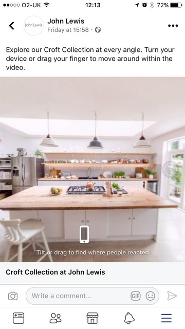 John Lewis has become the first UK retailer to trial 360 advertising on Facebook featured image