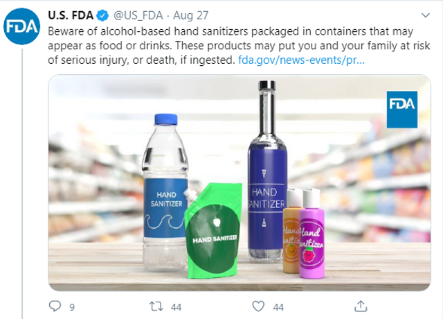 FDA Issues Warning Over Hand Sanitizers Packaged in Food and Drink Containers featured image