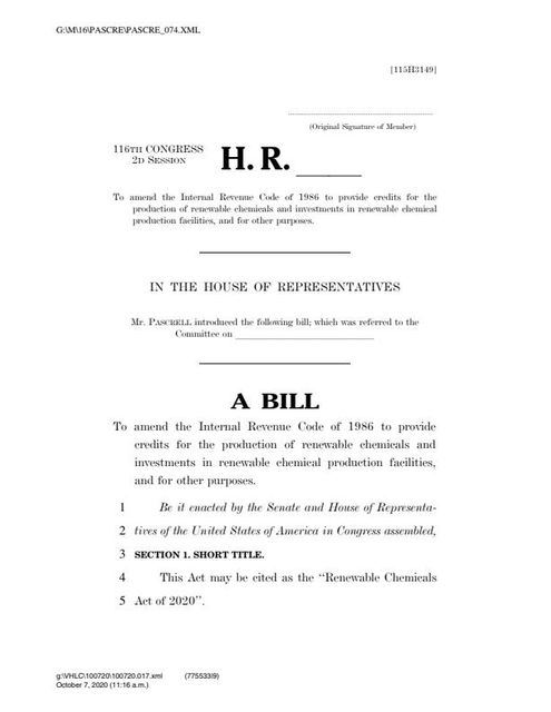 Renewable Chemical Credit Bill Introduced in House featured image