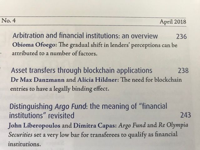 Asset transfers through blockchain applications (JIBLF publication) featured image