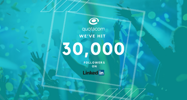 Quotacom celebrates 30,000 followers on LinkedIn. featured image