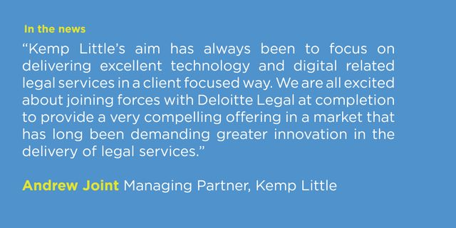 Kemp Little LLP announces landmark transaction with Deloitte Legal featured image
