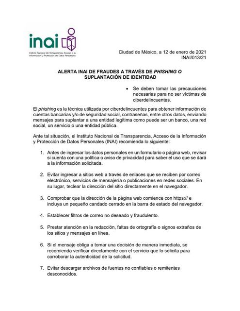ALERTA INAI DE FRAUDES A TRAVÉS DE PHISHING O SUPLANTACIÓN DE IDENTIDAD featured image