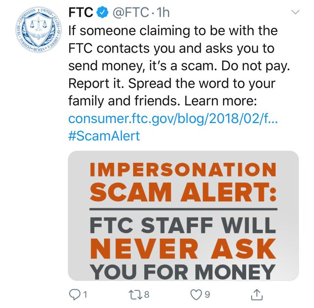 """FTC Staff Will Never Ask You For Money"" featured image"