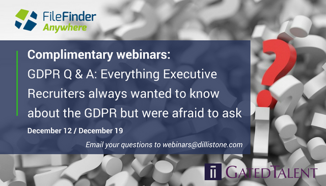 GDPR Q&A webinars: Everything Executive Recruiters always wanted to know about the GDPR but were afraid to ask featured image