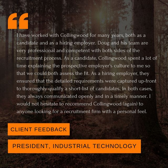 Client testimonial from the President of a global industrial technology client featured image