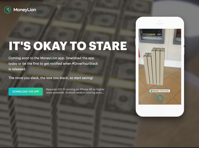 IT'S OKAY TO STARE - MoneyLion's App brings Apple's new AR toolkit to Personal Finance featured image