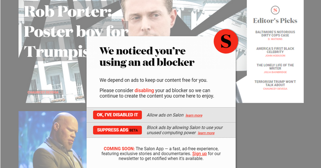 Salon gives readers a choice: Disable your ad blocker or let us mine cryptocurrency featured image
