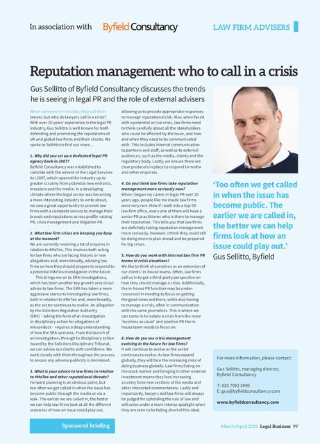 Byfield MD Gus Sellitto writes for Legal Business featured image