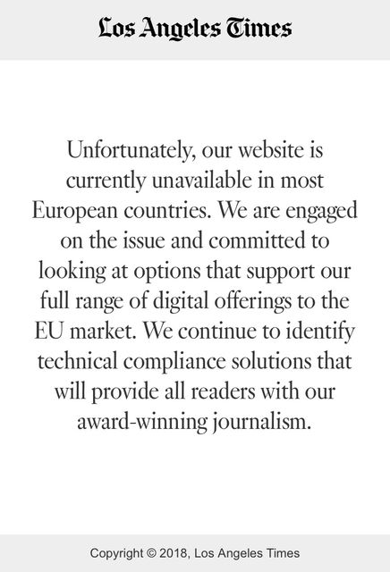Unfortunate GDPR Reaction from some US Media Companies Leaves European Readers and Journalists in the Dark featured image