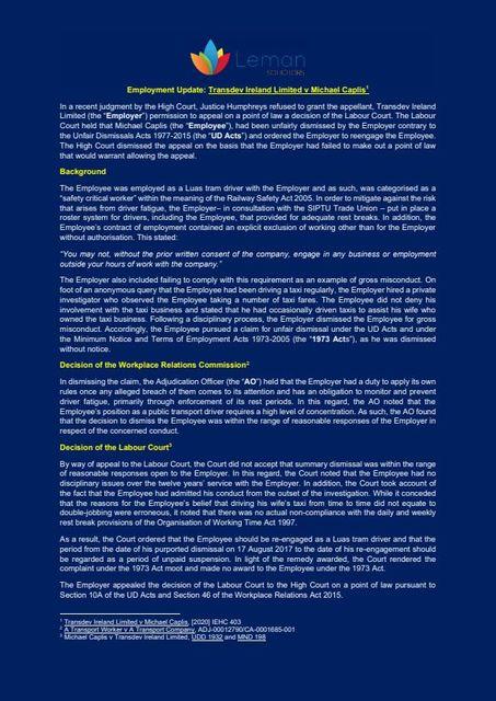 Employment Update: Transdev Ireland Limited v Michael Caplis featured image