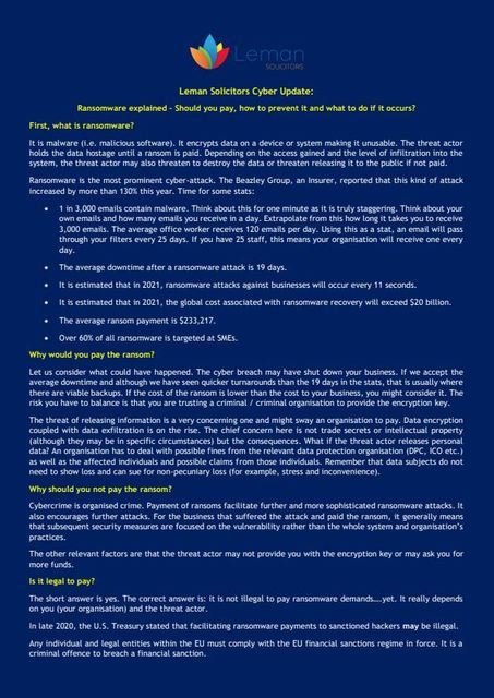 Leman Cyber Update: Ransomware Explained featured image