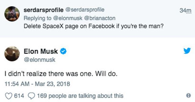 Elon Musk has removed Tesla and SpaceX's Facebook Pages after Twitter Challenge featured image