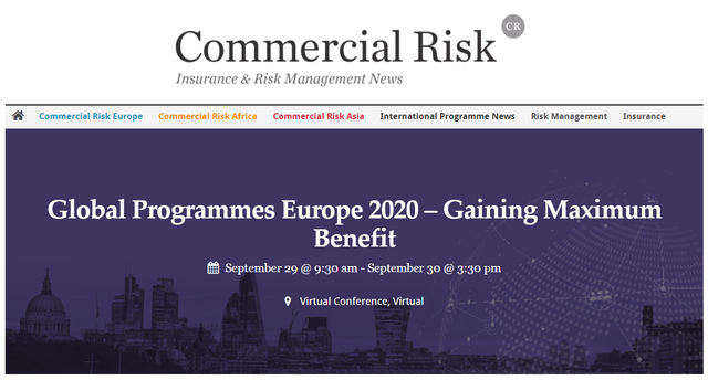 Axco presenting at Commercial Risk's Global Programmes Europe 2020 – Gaining Maximum Benefit virtual conference featured image