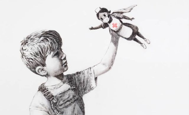 Banksy Drops Off Superhero Nurse Artwork at Hospital in UK With a Thank You Note featured image