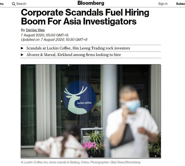 Keith Williamson and Chris Fordham Quoted by Bloomberg on Rising Corporate Scandals featured image
