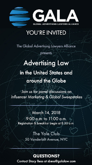 Global Advertising Lawyers Alliance to Host Advertising Law Seminar in NYC featured image