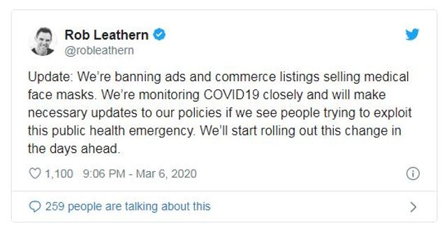 Facebook Bans Ads for Face Masks featured image