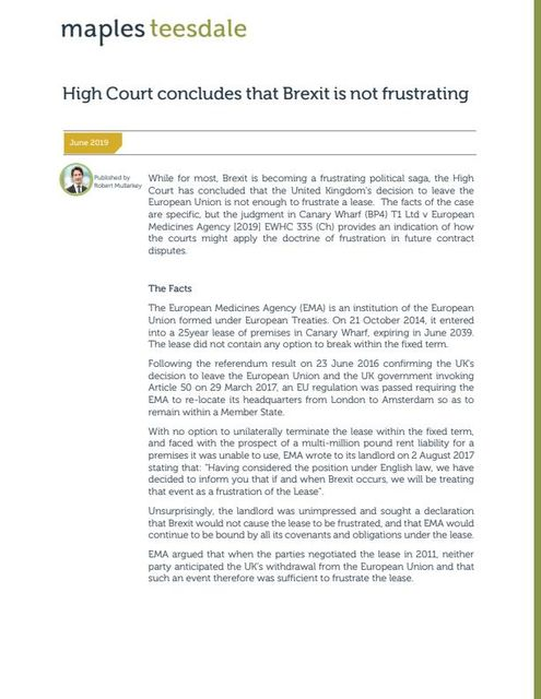 High Court concludes that Brexit is not frustrating featured image
