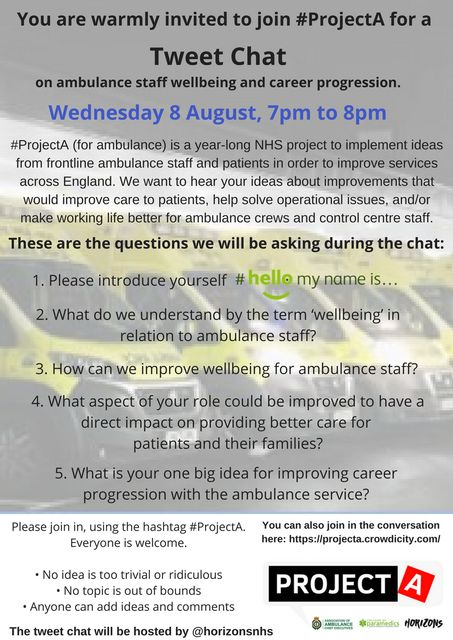 Improving Wellbeing and Career Progression for Ambulance Staff: the third #ProjectA tweet chat featured image