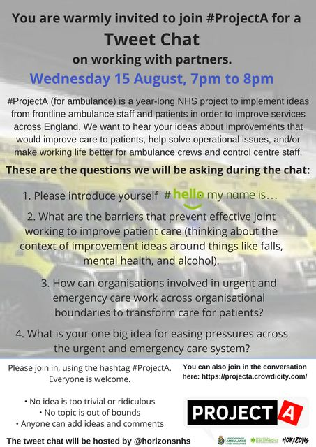 Working together across urgent and emergency care - the fourth #ProjectA tweet chat featured image