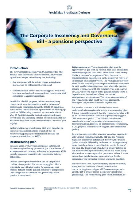 The Corporate Insolvency and Governance Bill – a pensions perspective featured image