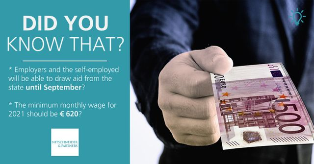 Did you know that employers and the self-employed will be able to draw aid from the state until September? The minimum monthly wage for 2021 should be €620? featured image
