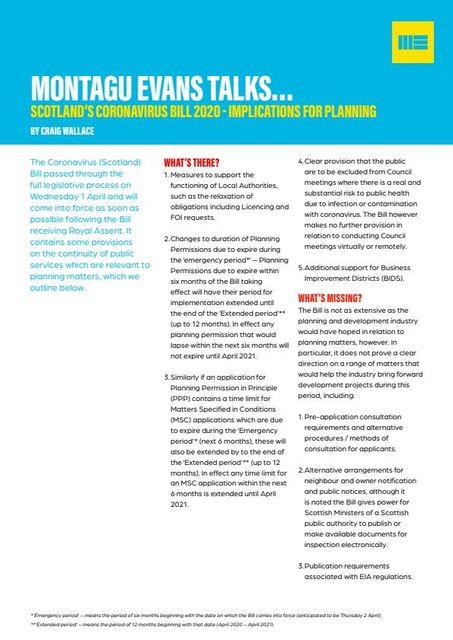 SCOTLAND'S CORONAVIRUS BILL 2020 - IMPLICATIONS FOR PLANNING featured image