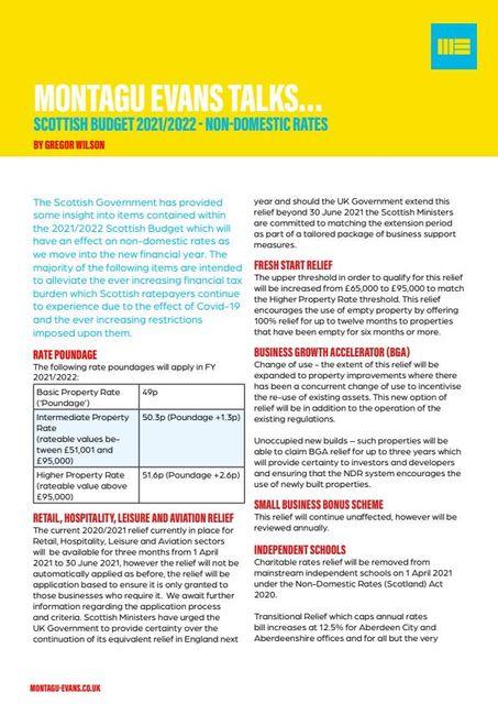 SCOTTISH BUDGET 2021/2022 - NON-DOMESTIC RATES featured image