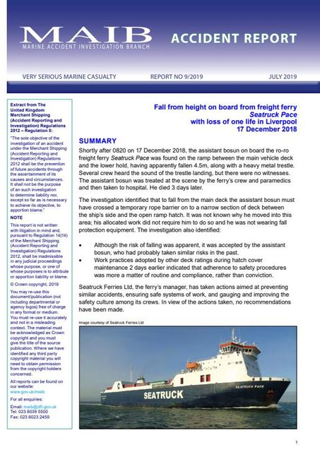 MAIB Seatruck Pace fatality report published featured image