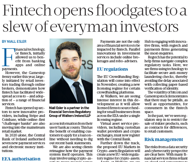Sunday Business Post Article: Fintech featured image