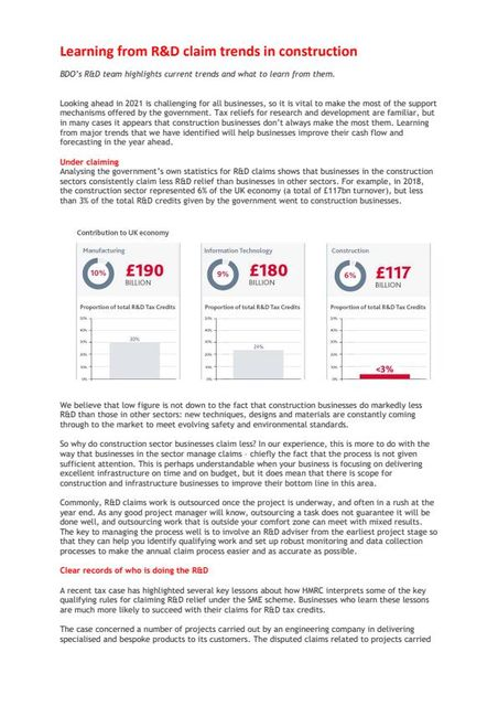 Is UK construction missing out on Research & Development tax credits? featured image