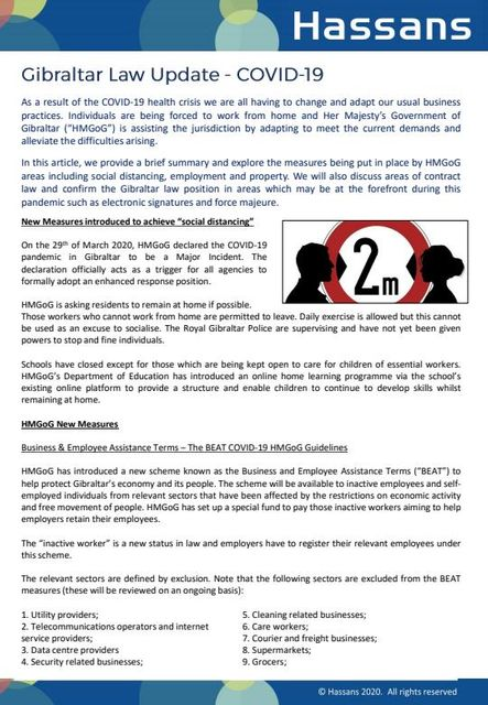 Gibraltar Law Update - COVID-19 featured image