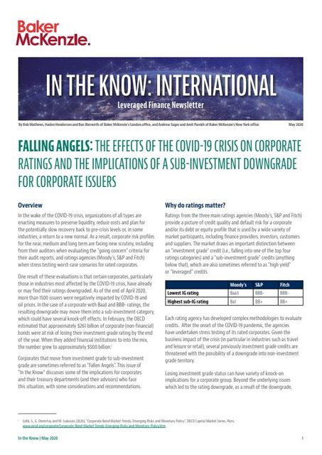 Falling Angels: The effects of the COVID-19 crisis on corporate ratings and the implications of a sub-investment downgrade for corporate issuers featured image
