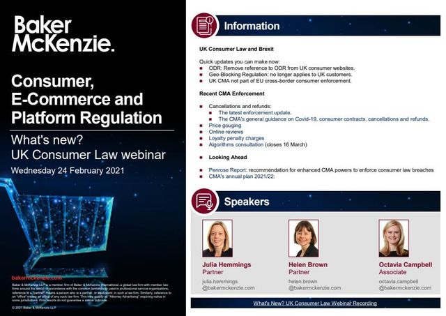 Consumer, E-Commerce and Platform Regulation: What's new? Recordings and materials featured image