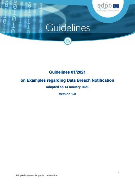 EDPB Guidelines on Examples regarding Data Breach Notifications featured image
