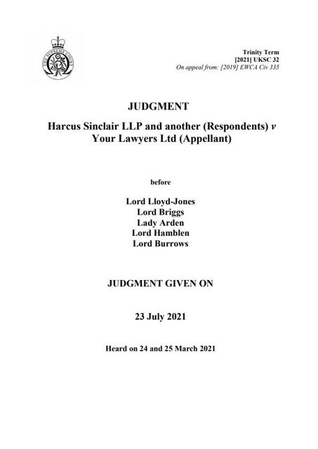 Harcus Sinclair LLP v Your Lawyers Ltd – Weakening of Solicitors Undertakings featured image