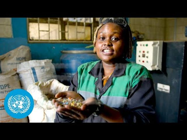 Turning trash into cash...  Nzambi Matee was honoured with the United Nations Environment Programme's 2020 Young Champions of the Earth prize featured image