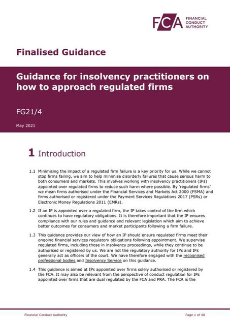 New FCA guidance for insolvency practitioners of regulated firms featured image